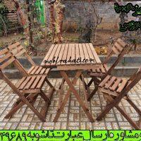 میز و صندلی چوبی تاشو